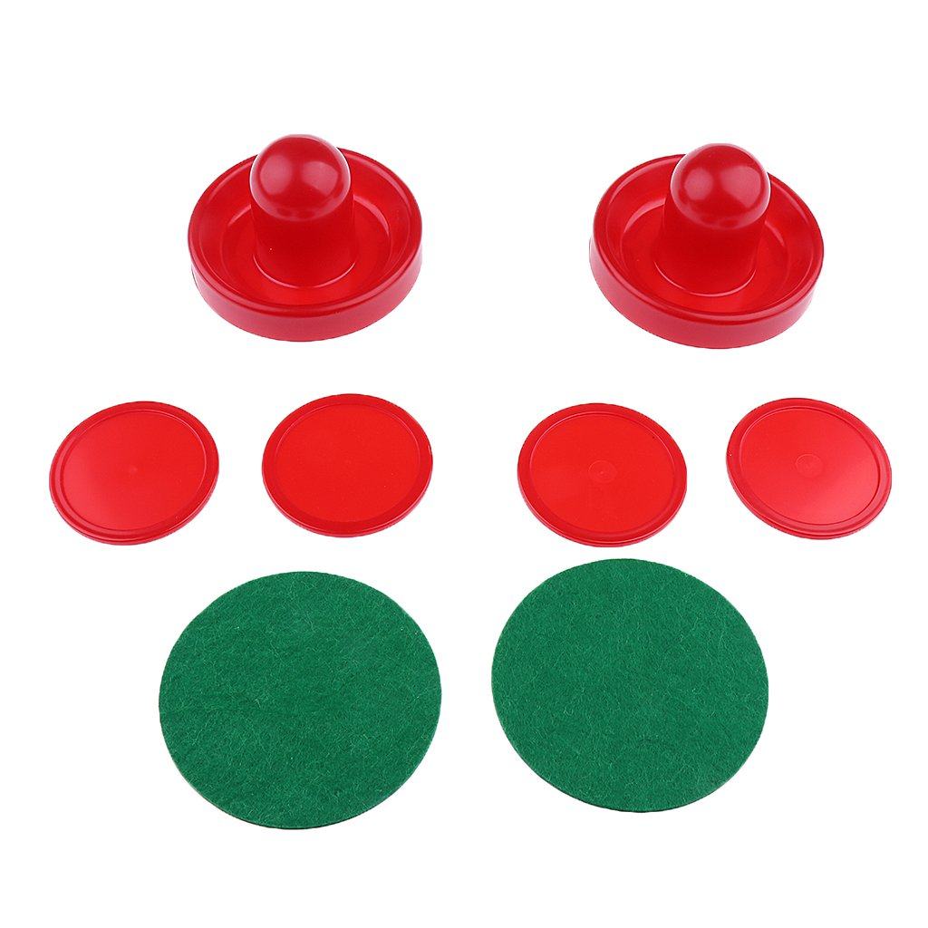 Baoblaze Two Air Hockey Pushers Strikers Goalies and Four Air Hockey Pucks- 3 sizes (S,M,L) Red Dark Blue