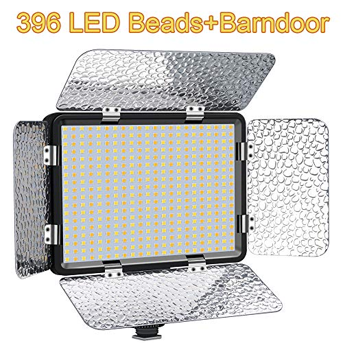 Coolpow Professional Bi-Color LED Camera Light for Studio, YouTube, Product Photography, Video Shooting, 396 Beads Led Light Panel+Barndoor,3200-5600K,CRI 95+,Dimmable High Power LED Video Light