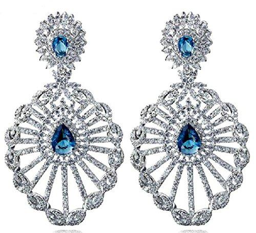 White Gold Plated Earrings, Women's Stud Earrings White Water Drop Hollow CZ 5.8cm3.1cm Epinki by Epinki