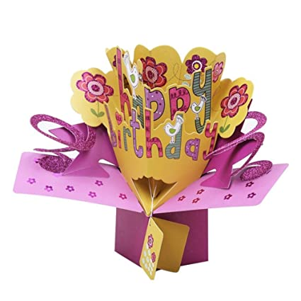 Amazon SODIAL 3D Happy Birthday With Flowers Pop Up Greeting Card Handmade Gift For Blessing Office Products