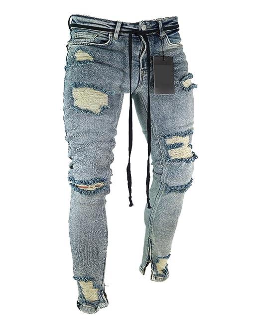 Pantalones Vaqueros Hombre Slim Fit Casuales Pantalones Rotos Elasticos