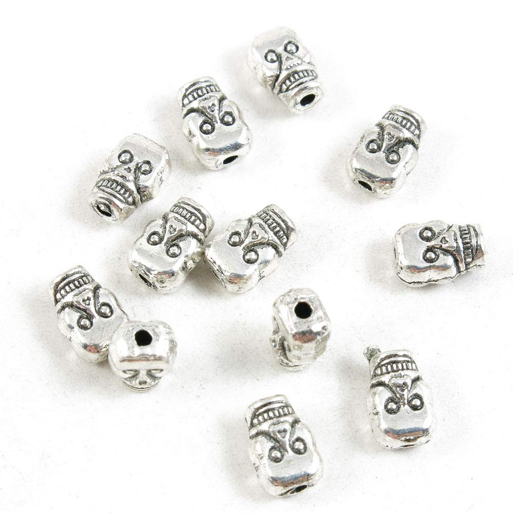 2130 Pieces Antique Silver Tone Jewelry Making Charms Crafting Beading Craft 35336 Skull Loose Beads