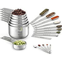 Wildone Measuring Cups & Spoons Set of 21 - Includes 7 Stainless Steel Nesting Measuring Cups, 8 Measuring Spoons, 1…