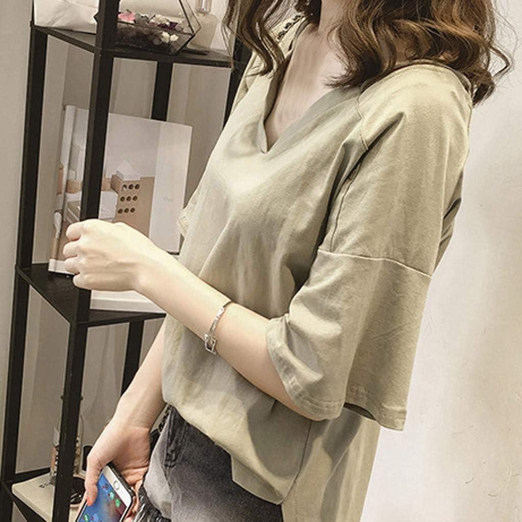 MOTOCO Mujer Camisa/Camiseta de Manga Corta Causal Color sólido ...
