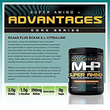 MHP Super Amino Powder, BCAAs Plus BCKAs Citruline, Mango Citrus, 30 Servings
