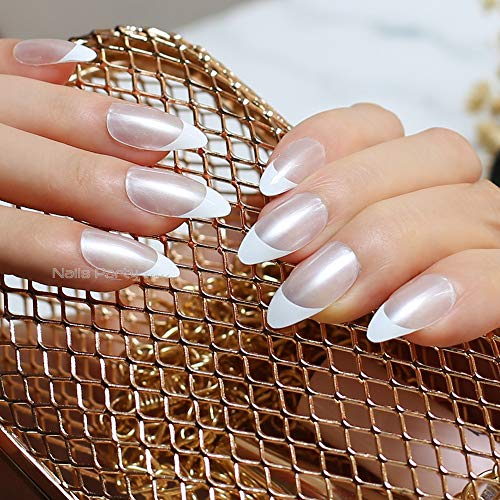 Aaviland Pearl,White Border French Nails Medium Pointed Nails False Nail Tabs Tips Designed Full Sets Bright Light Naturally Transparent Nails(No sticker) -