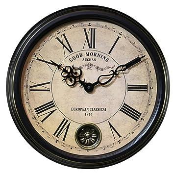 YHEGV Vintage Relojes de Pared Reloj de Pared Reloj de Pared Grande salón Digital Black Metal