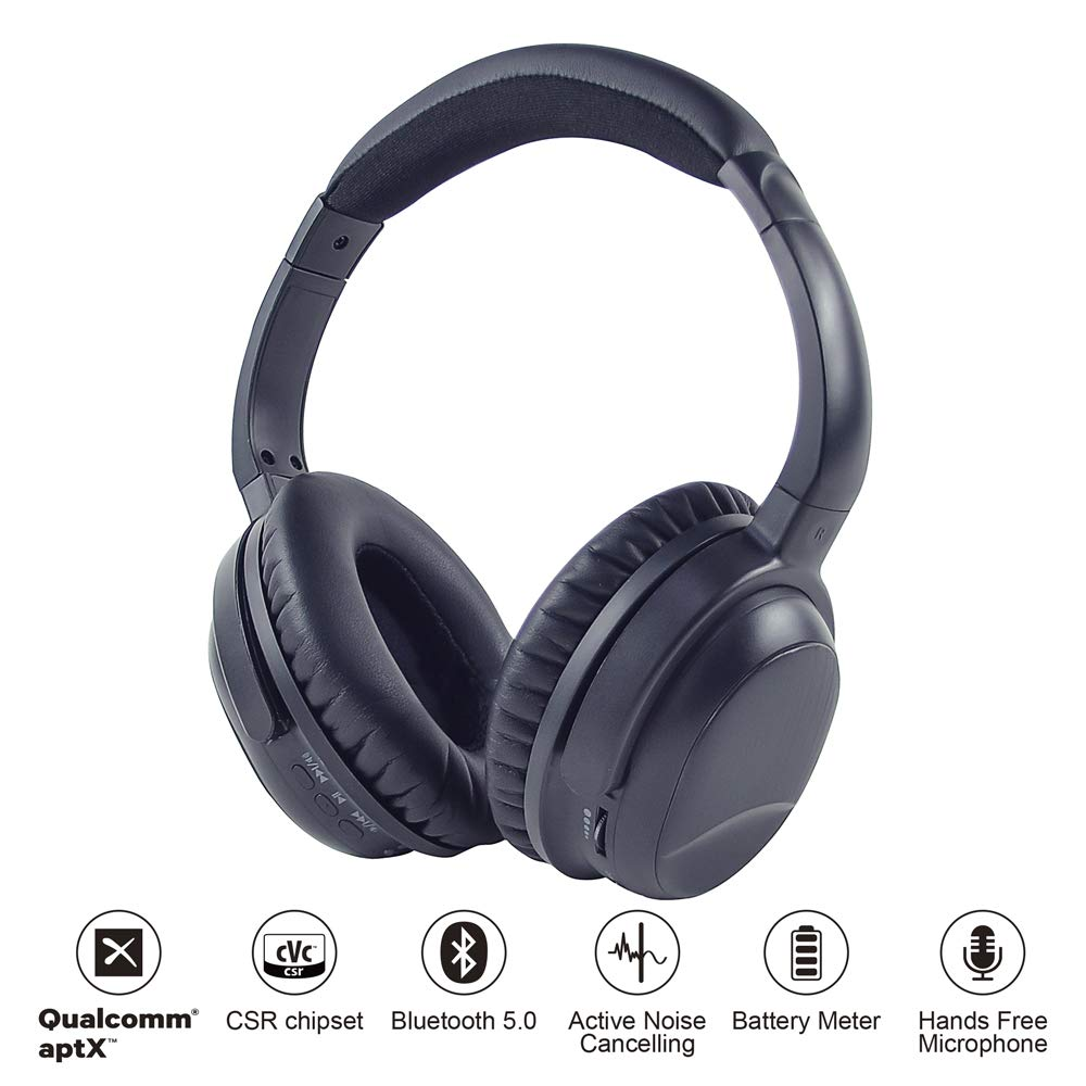 AKSONIC Ultralight Active Noise Cancelling Headphones Bluetooth V5.0 aptX Wireless Over Ear Headset with Mic, Dual Device Connection, Comfortable Protein Leather Earpads for Work Travel TV PC Gaming