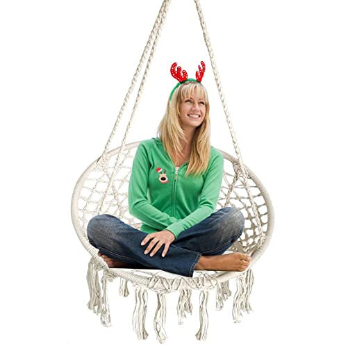 BHORMS Hanging Hammock Chair Macrame Swing White for Indoor Bedroom Outdoor Patio Porch Deck Garden Yard Reading Leisure Lounging-Max Capacity 265 Lbs