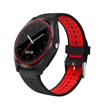 QTEC Reloj Inteligente Bluetooth Rojo Negro Correa Reloj ...