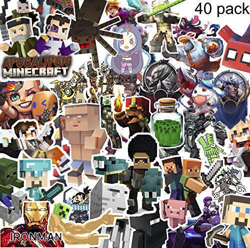 GTOTd Cool Stickers (Random),40Pcs,Waterproof Vinyl Stickers,for Door Window,Car,Motorcycle Bicycle,Luggage, Skateboard Vinyl Graffiti Laptop Stickers Decal Patches (Minecraft Stickers)