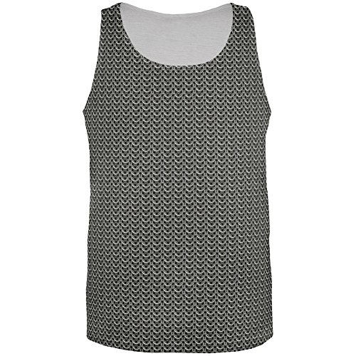 [Halloween Chainmail Costume All Over Adult Tank Top - Medium] (Mail Man Costumes)