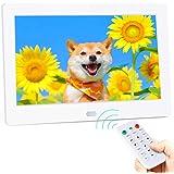 7インチ デジタルフォトフレーム Metrusty 1280 * 800高解像度 IPS広視野角 /90°~360°回転可能/写真音楽動画再生/カレンダー/アラーム/自動オンオフ/タイマー/USB/SDカード対応 リモコン付き 良いギフト 日本語取扱説明書(白)
