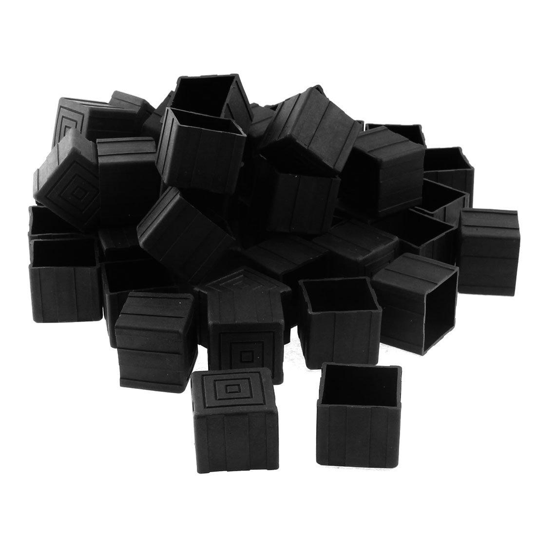 Sourcingmap Möbel Tisch Stuhl Bein Fuß quadratisch, GAP 25mmx25mm 50Schwarz
