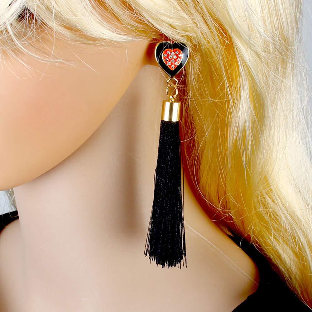 SuBoZhuLiuJ Fashion Earrings for Women Girls,Ethnic Rhinestone Peach Heart Long Tassel Earrings Party Jewelry Decor