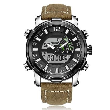 SW Watches Relojes Militares Militares de Doble Pantalla para Hombres Reloj de Pulsera de Cuarzo analógico