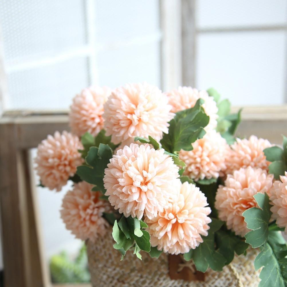 Decorative-Fake-Flower-Lotusflower-2-heads-Artificial-Silk-Hydrangea-Wedding-Bouquet-Party-Home-Decor-Orange