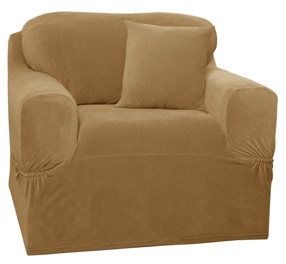 Maytex Collin Stretch 1-Piece Slipcover Chair, Gold