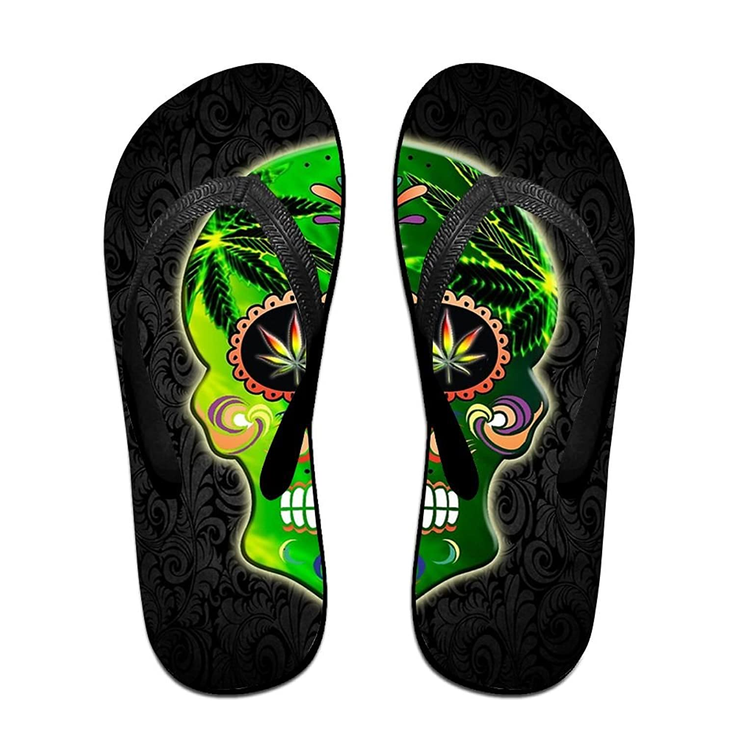 c1fa84d3160a2 Floral Weed Skull Unisex Summer Casual Flip Flop Beach Slippers Flat Sandals