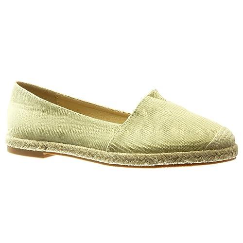 Angkorly - Zapatillas Moda Alpargatas Mocasines Slip-on Mujer Cuerda Bordado tacón Plano 0 CM: Amazon.es: Zapatos y complementos
