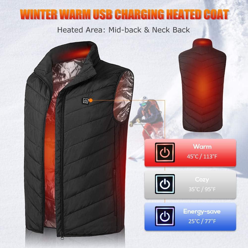 carga r/ápida esqu/í senderismo Chaleco calefactable de invierno con bolsillo para hombre para camping temperaturas ajustables Festnight pesca