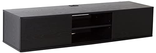 South Shore Floating Wall Mounted Media Console, Black Oak, 56 ,