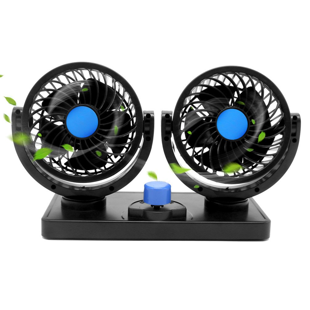 12V Car Cooling Fan 360 Degree Rotatable Dual Vehicle Fan 2 Speed Adjustable Dashboard Fan with Cigarette Lighter Plug in car fan for Truck RV Suv or Boat.