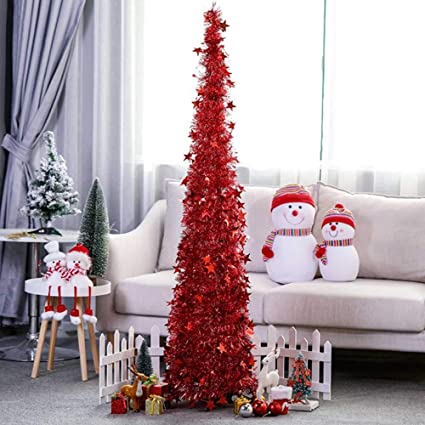 Amazon Com Yugust Artificial Christmas Tree Metal Stand Glittery Tinsel Christmas Tree 4ft Collapsible Xmas Trees With Plump Sequin For Holiday Decor Easy To Assemble Red Home Kitchen
