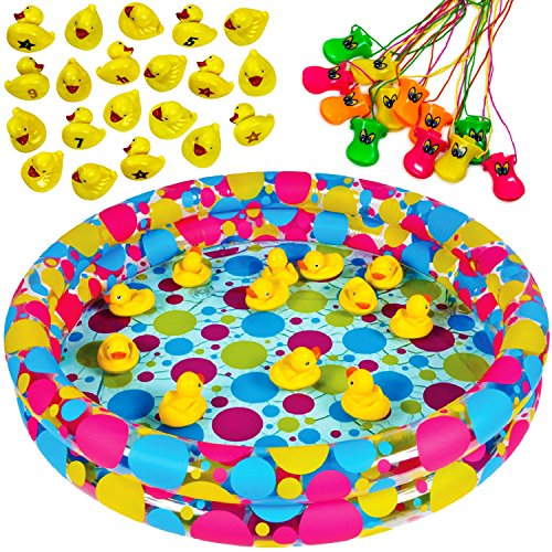 Tigerdoe Carnival Games - Duck Pond Pool with 20 Duckies & 12 Duck Beak Whistles - Pond Game - Matching Game -