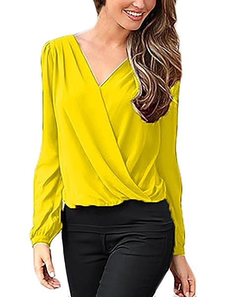 Blusas Mujer Camisas Chiffon Elegantes Primavera Otoño Tops Manga Largo Splice Encaje Hollow V Cuello Color