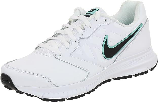 Nike Downshifter 6 Lea Wmns - Zapatillas de Running de Piel para Mujer Blanco weiß/Schwarz/Hyper türkis, Color Blanco, Talla 42: Amazon.es: Zapatos y complementos