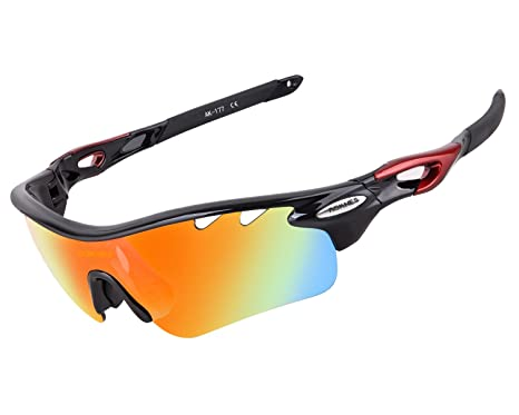 bc3c56e9e3 AOKNES Polarized Sports Sunglasses with 5 Interchangeable Lenses for Men  Women Cycling Baseball Running Fishing Driving