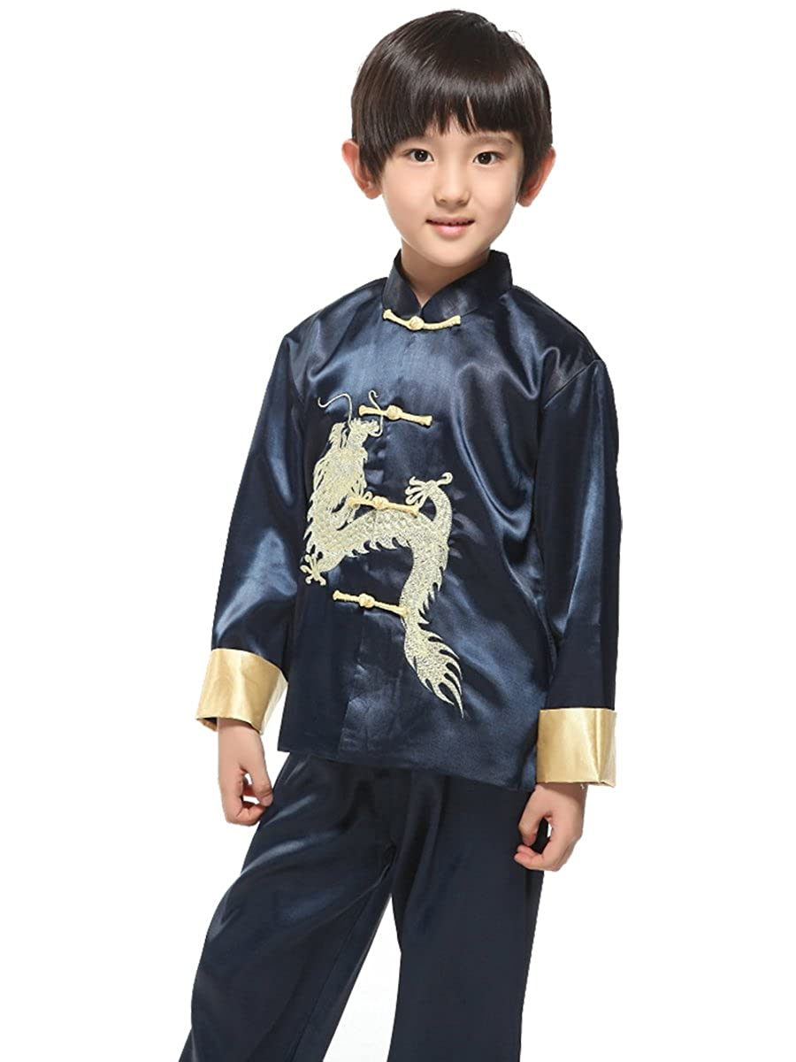 753895f85ed4a Evaliana Kids Chinese Dragon Embroidered Tang Suit Kung Fu Outfits