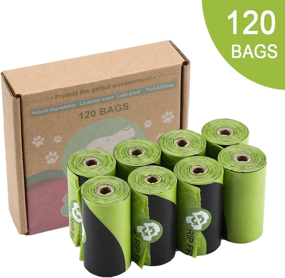 """Whitejianpeak Dog Waste Bags, Extra Thick and Strong Poop Bag for Dog, Guaranteed Leak-Proof Easy Tear, Premium Lavender Scented Green Eco-Friendly, 15 Doggy Bags Per Roll, 9""""x13"""""""
