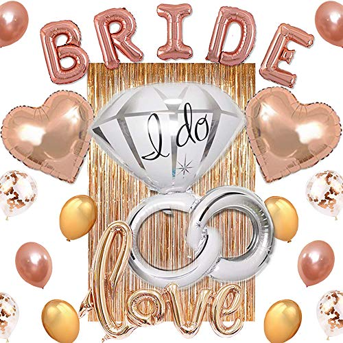 Love Bridal Set - Bachelorette Party Decorations Set | Bridal Shower Pack - Kit Includes 1 Foil Curtain, 1 Bride, 1 Love, 1 Ring, 2 Heart, 2 Star, 6 Gold, 6 Confetti & 6 Rose Gold Balloons.