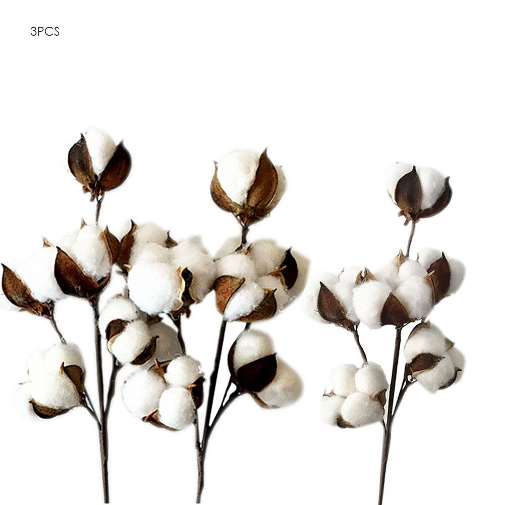 Feileng Dried Flowers White Cotton Stems Artificial Cotton Branch DIY Material Decoration Farmhouse Style Decor Wedding Feileng|ewrrt