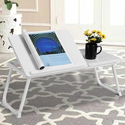 Tavolino Colazione A Letto.Bakaji Tavolino Vassoio Da Letto Divano Per Notebook Pc Laptop Pieghevole Leggio 65x30cm Tavolino Colazione Da Letto Bianco White