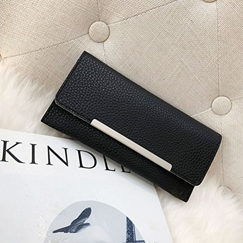 Single Fold Wallet PU Pattern Purse Lichee Women's Black Handbag Leather Clutch 4znwtIpxq