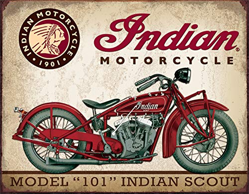 Desperate Enterprises Indian Scout Motorcycle Tin Sign, 16