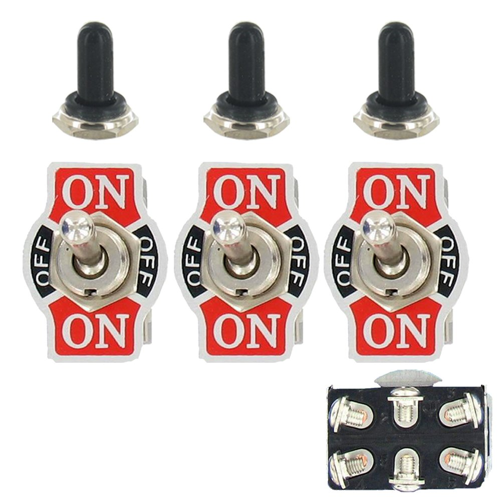 E Support Car Univeral Heavy Duty 20A 125V DPDT 6P On/Off/On Rocker Toggle Switch Metal Waterproof Boot Cap 12mm Pack of 3