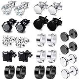 12 Pairs Stainless Steel Stud Earrings Hoops Ear Plugs Round Ear Piercing Screw Studs Earrings Barbell Huggie CZ Stud…