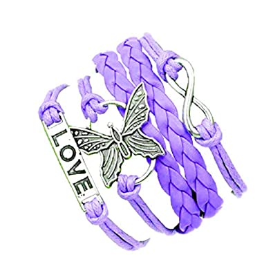 Purple Bracelet With Infinity Symbol Butterfly And Love Written In