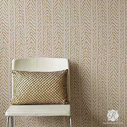 Funky Fibers Weave Texture Wall Stencil For Painting DIY Wallpaper Look