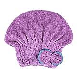 Paquete de 2 microfibra cabello seco sombrero envuelto toalla de secado  gorros de ducha de baño d0f38062b25