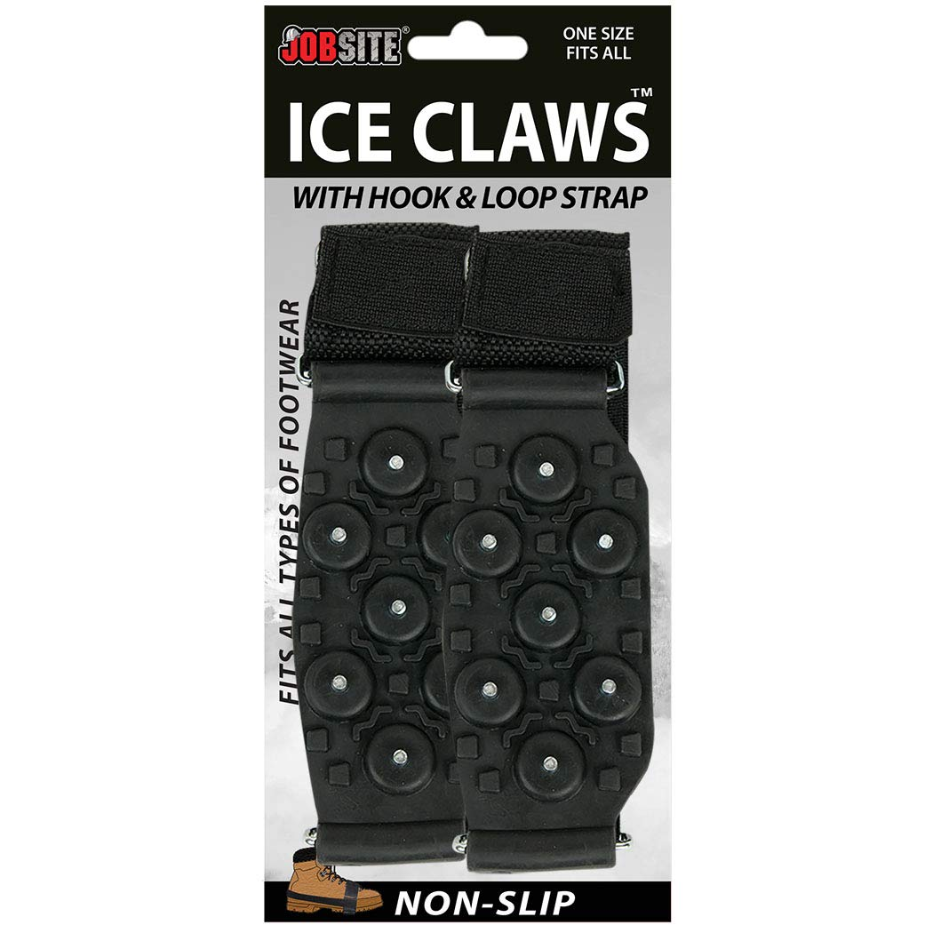 JobSite Ice Claws Snow and Ice Traction Cleats Easily Grips Over Boots and Shoes One Size Fits Men and Women 54071