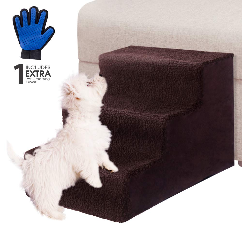 Pet Steps Stairs for Dogs & Cats with Pet Gloves III Pet Stairs for Small Dogs and Cats for Tall Beds Lightweight Pet Ladders Hold Up 50 lbs, Portable, Removable Washable Carpet Tread