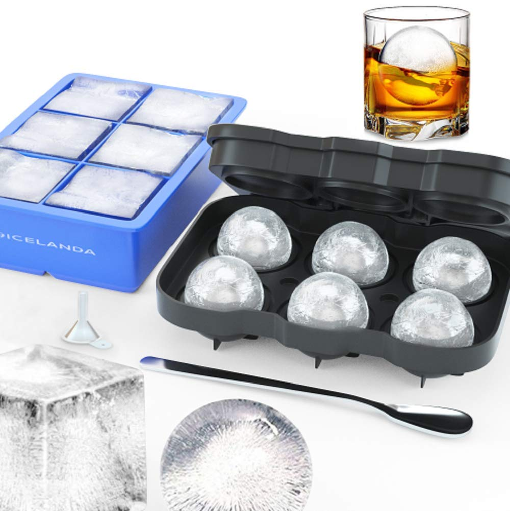 Sphere Ice Ball Mold,Large Square Ice Cube Mold,Whiskey Ice Ball Ice Cube Trays Maker,Big Cocktail Ice Cube Molds for Whiskey,Silicone Ice Cube Tray Set,Include 2 Molds & Whiskey Stirrer & Funnel by Icelanda