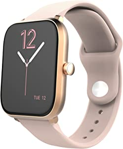 Shelinks Smart Watch Compatible with iPhone Samsung Android Phones, IP68 Waterproof Smartwatch Fitness Tracker, Heart Rate Monitor, 1.7 inch Touchscreen Smart Watch for Women Men, Silicone Strap, Pink