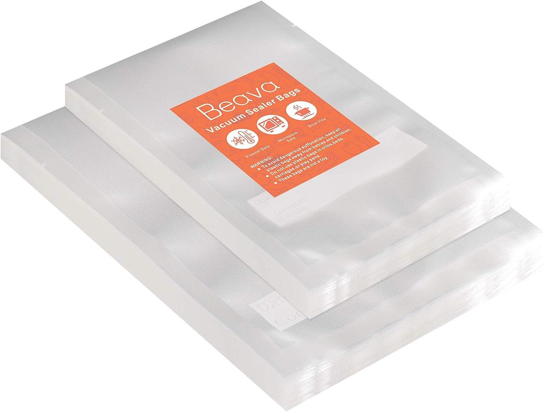 Vacuum Sealer Bags 100pcs, Beava 6x10 8x12 Inch Precut Heavy Duty Vacuum Sealer Freezer Bags Embossed Commercial Grade Food Saver Bags for Seal a Meal, Sous Vide or Meal Prep