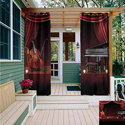 (Beihai1Sun Custom Outdoor Curtain,Musical Theatre Orchestra Symphony,for Porch&Beach&Patio,W84x108L)